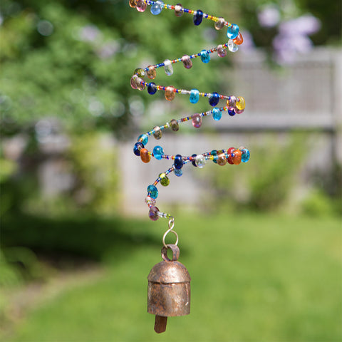 Spiral Jewel Toned Glass Bead Chime with Bell- Isabella Catalog