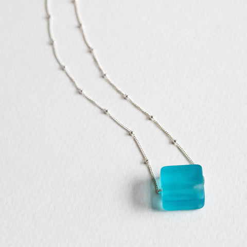 Recycled Glass Simple Cube Necklace- Isabella Catalog