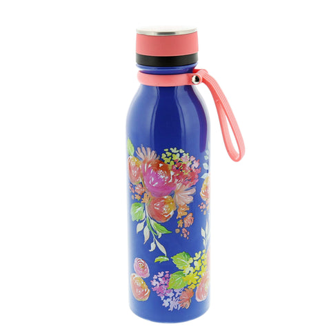 Blue Floral Stainless Steel Water Bottle- Isabella Catalog