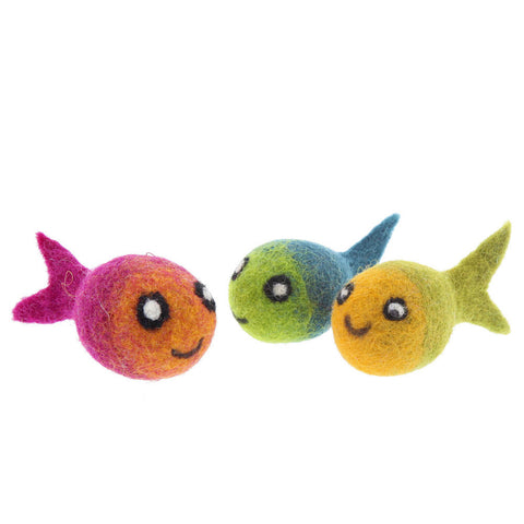 Handcrafted Felted Fish Cat Toys - Set of 3 - Assorted Colors- Isabella Catalog