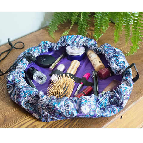 Lay-n-Go Cosmetic Bag - Purple Paisley- Isabella Catalog