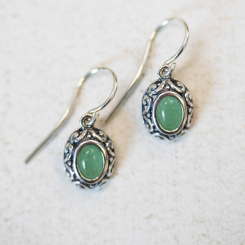 Antique Silver and Jade Earrings - Isabella Catalog