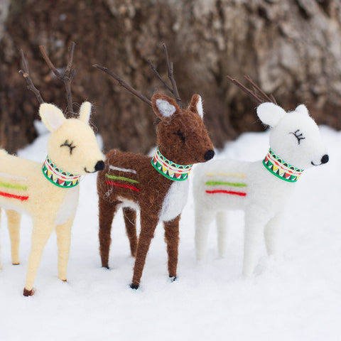 Wool Reindeer - Set of 3 - Isabella Catalog