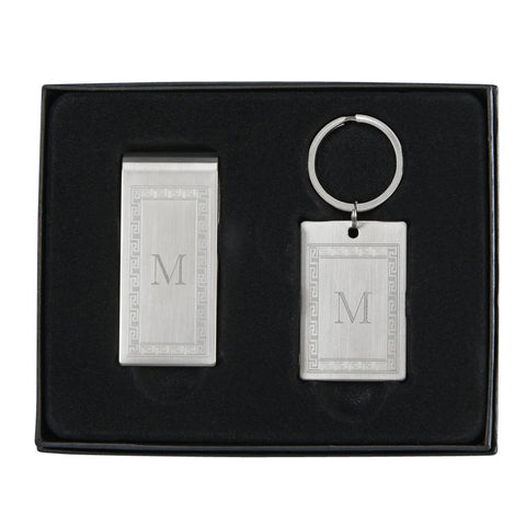 Greek Key Money Clip Key Chain Set
