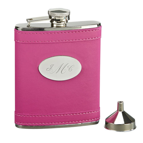 Leatherette Flask - Hot Pink