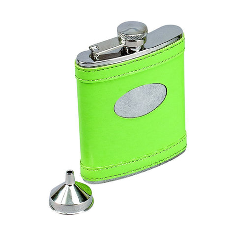 Leatherette Flask Lime Green