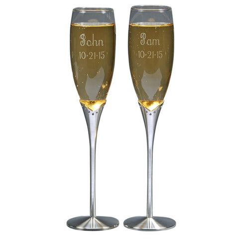 Glass Flutes With Crystal Stems