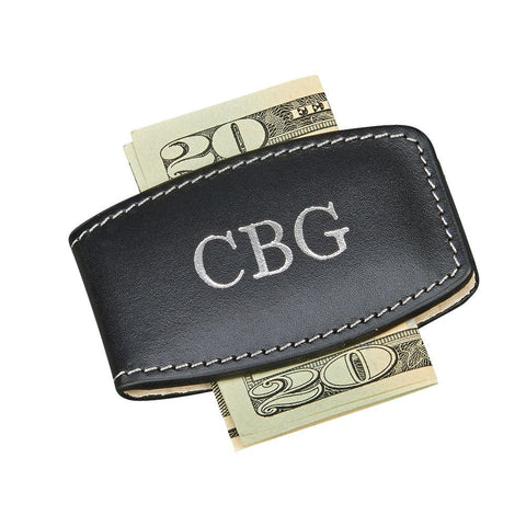 Money Clip Black Leather