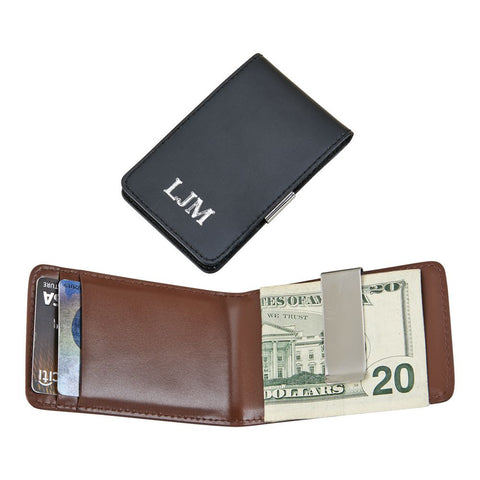 Folding Money Clip & Card Holder - Black Leather