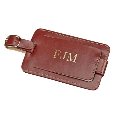 Luggage Tag Brown Leather