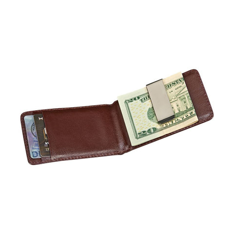 Folding Money Clip & Card Holder - Brown Leather