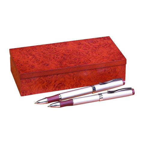 Pen Set In Burlwood Box