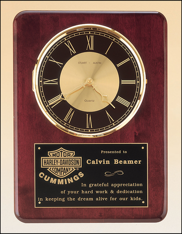 Walnut Rosewood Plaque Clock