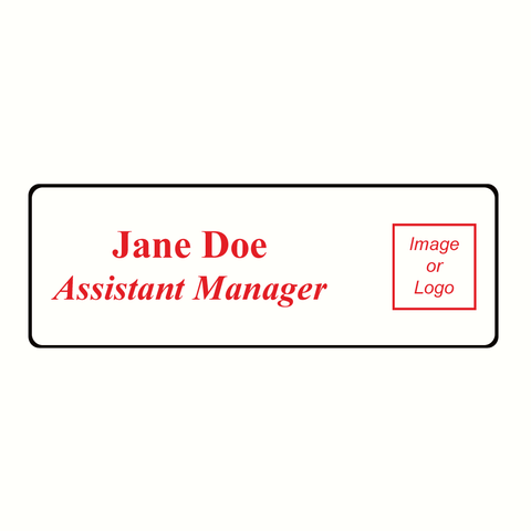 Name Badge Rounded Corners - White & Black