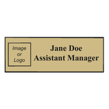 Name Badge Squared Corners - Silver & Gold