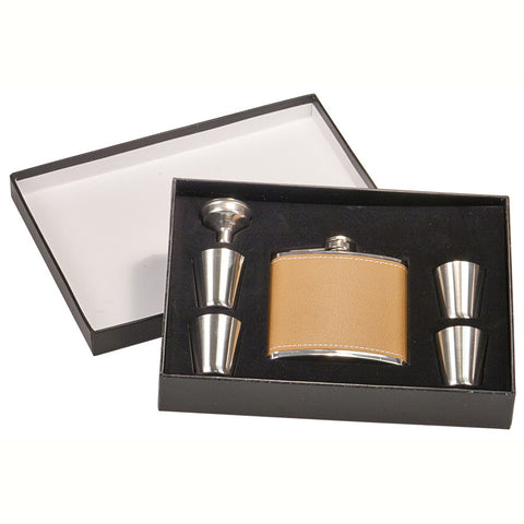 Leather Flask Set In Case