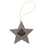 Laserable Leatherette Star Ornament with Gold String