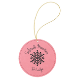 Laserable Leatherette Round Ornament with Gold String