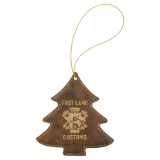 Laserable Leatherette Tree Ornament with Gold String