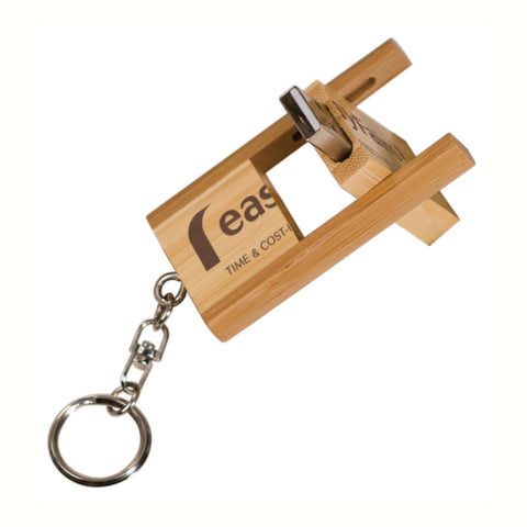 Bamboo USB Flash Drive - Flip Style with Key Ring
