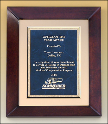 Cherry Finish Clasic Sapphire Frame Plaque