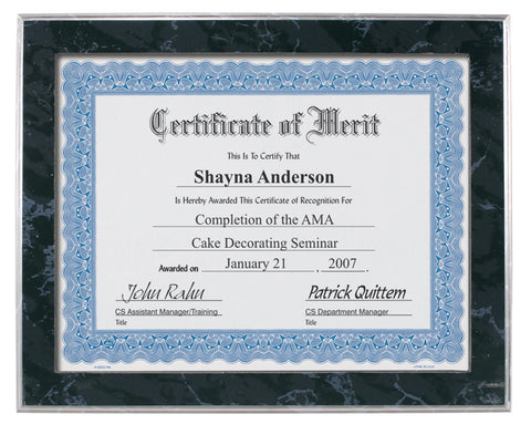 Black Marble Finish Certificate Plaque