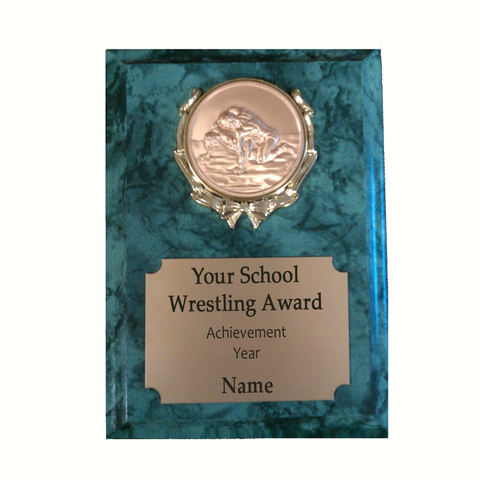 Wrestling Plaque - Green Marble