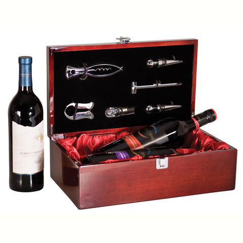 Wine Set Rosewood Double Bottle Box Set