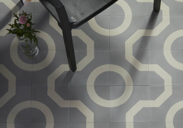 Encaustic Cement Tile Illusion Soft Grey