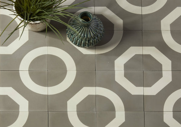Encaustic Cement Tile Illusion Warm Grey