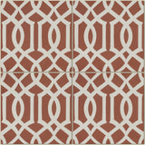Encaustic Cement Tile Lattice Red