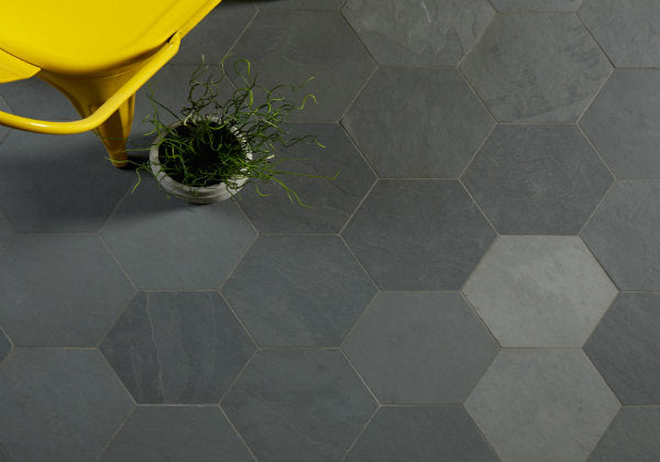 Radcliffe Slate Riven Steel Hexagon