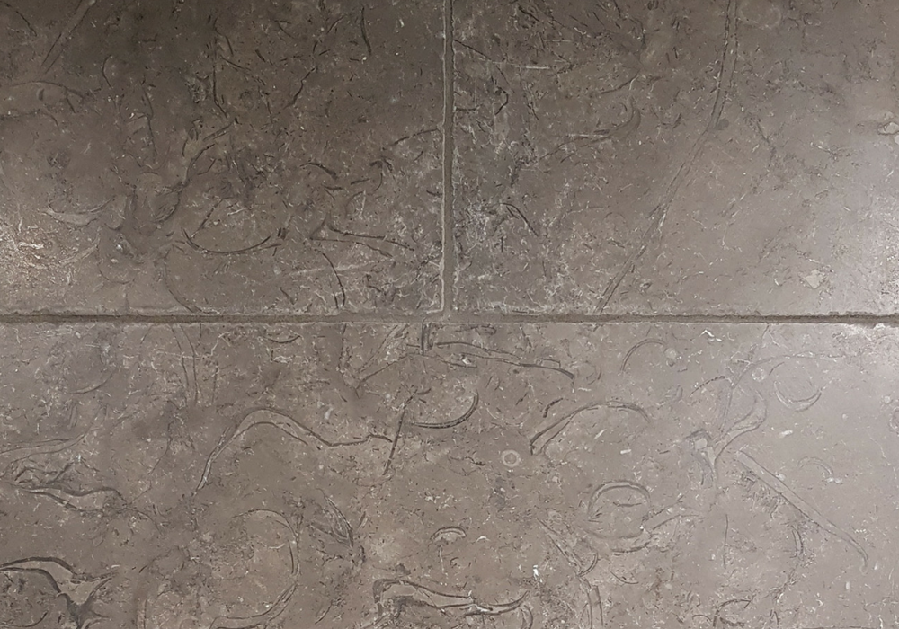 Milan Tumbled Limestone in bronze colour with dark veining and highlighting