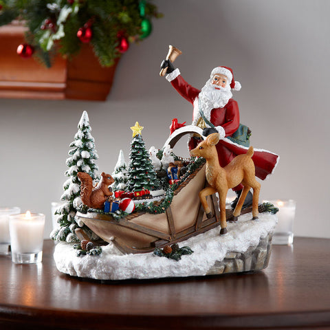 Santa's On His Way Musical Tableau - Chinaberry Books, Toys & Treasures