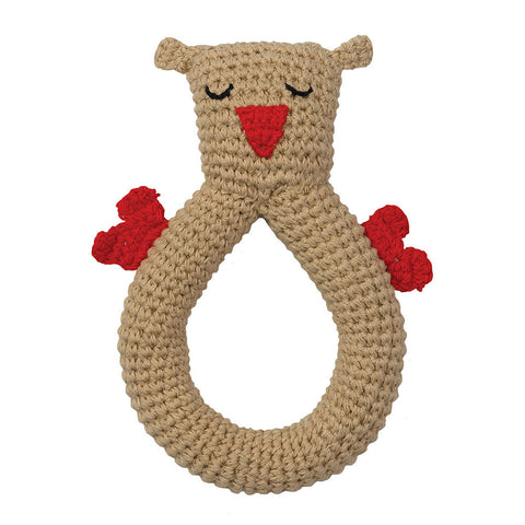 Organic Crochet Rattle - Owl - Chinaberry Books, Toys & Treasures