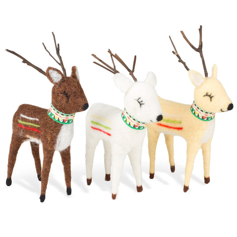 Wool Reindeer - Set of 3 - Chinaberry