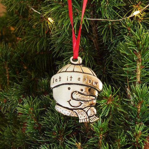 Pewter Christmas Ornament - Snowman - Chinaberry