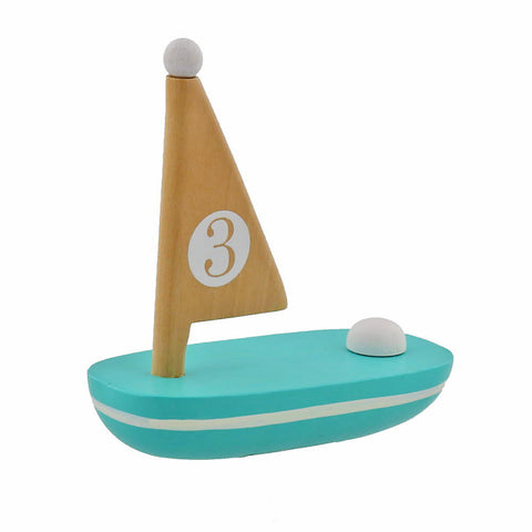 Little Wooden Sailboat - Assorted Colors- Chinaberry