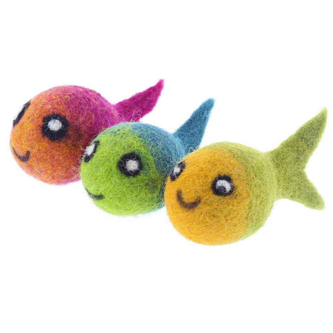 Felted Fish Cat Toys- Set of 3- Chinaberry