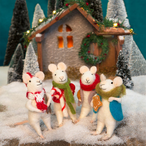 Christmas Mice- Set of 4- Chinaberry