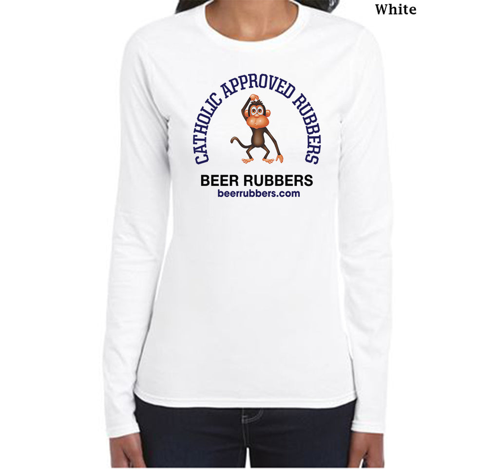"CATHOLIC APPROVED RUBBERS - LADIES Long Sleeve T-Shirt (Free Shipping) <font color=""gray"">Save $5.00 on Shipping</font>"