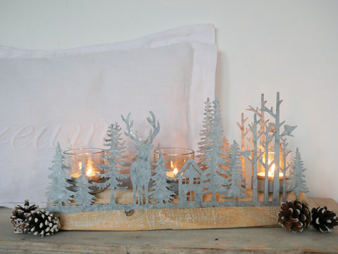 Festive Woodland Scene Triple Candle Holder