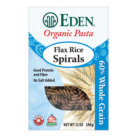 Kosher Eden Foods Organic 60% Whole Grain Flax Rice Spirals
