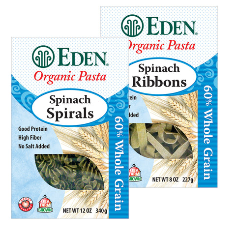 Kosher Eden Foods Organic 60% Whole Grain Spinach Pasta