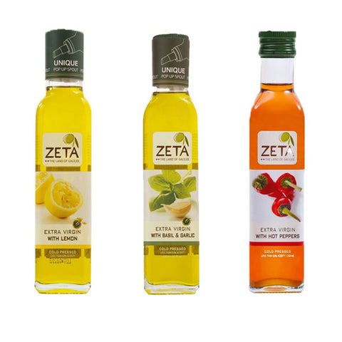 Zeta Flavored Extra Virgin Olive Oil with Drip Free Pour Spout