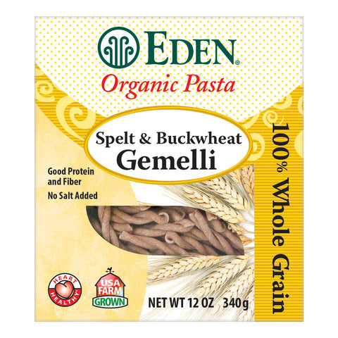 Kosher Eden Foods Organic Whole Grain Spelt & Buckwheat Gemelli