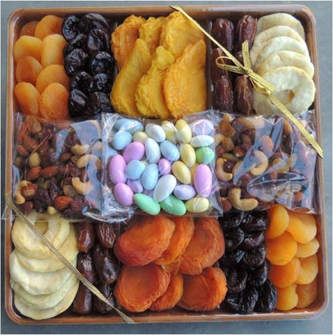Premium Dried Fruits  and Nut Gift Set Artistically on a Bamboo Tray