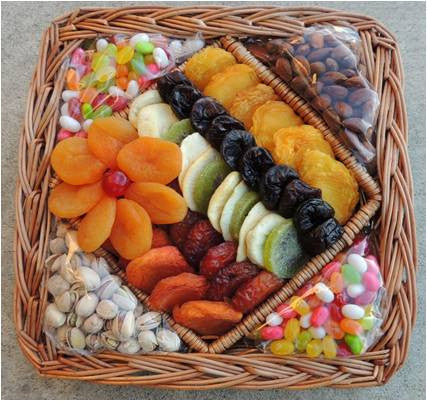 Large Assortment of Dried Fruit, Nuts, and Candy