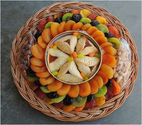 Dried Fruit Platter with Tarts, Jelly Beans & Nuts