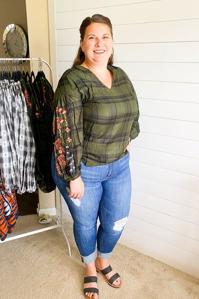 Felicity Embroidered Plaid Top - Chic Avenue Boutique
